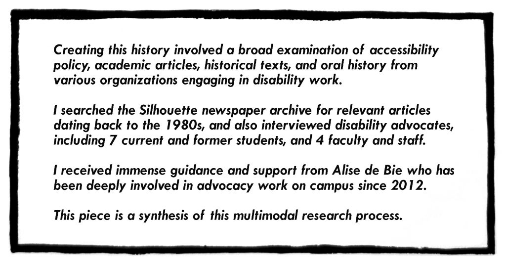 Image with text describing the process in creating this comic, the sources that were used from various people in the field of disability justice and organizational support.