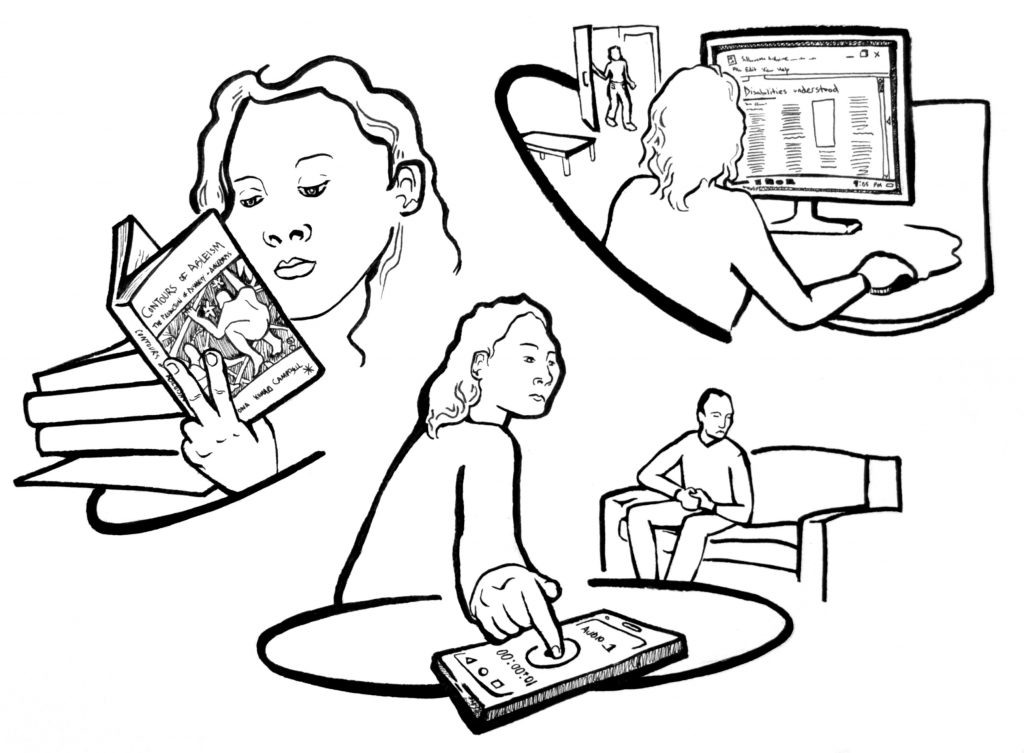 This image has three smaller images within it.  The first image is a person reading a book entitled Contours of Ableism. The second image shows two people, one has a recording device and is interviewing the other person.  The final image shows a person on a computer.