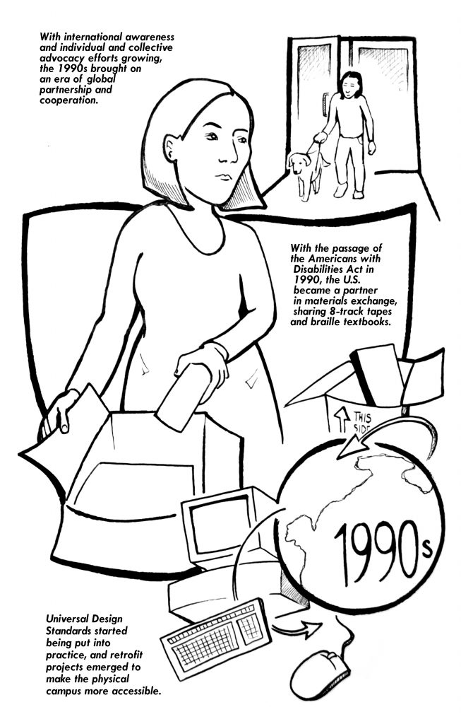 This image has two components. At the top of the image is a person with a service dog walking through a door.  Below this is a person opening a box with accessible educational materials. Below this image is a text description on how universal design and accessible material exchange started in the 1990's.