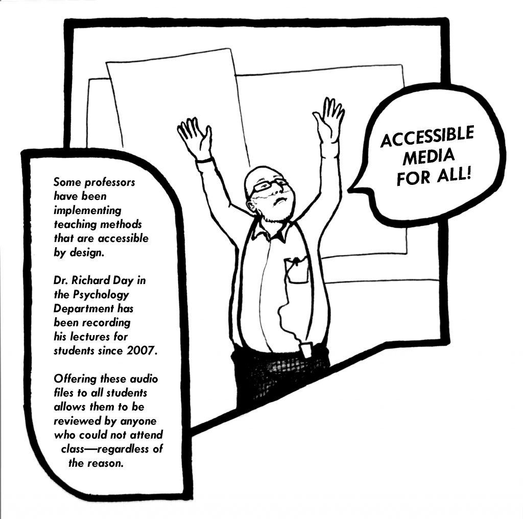 A person is pictured with both hands raised with a text bubble above their head that reads: accessible media for all.