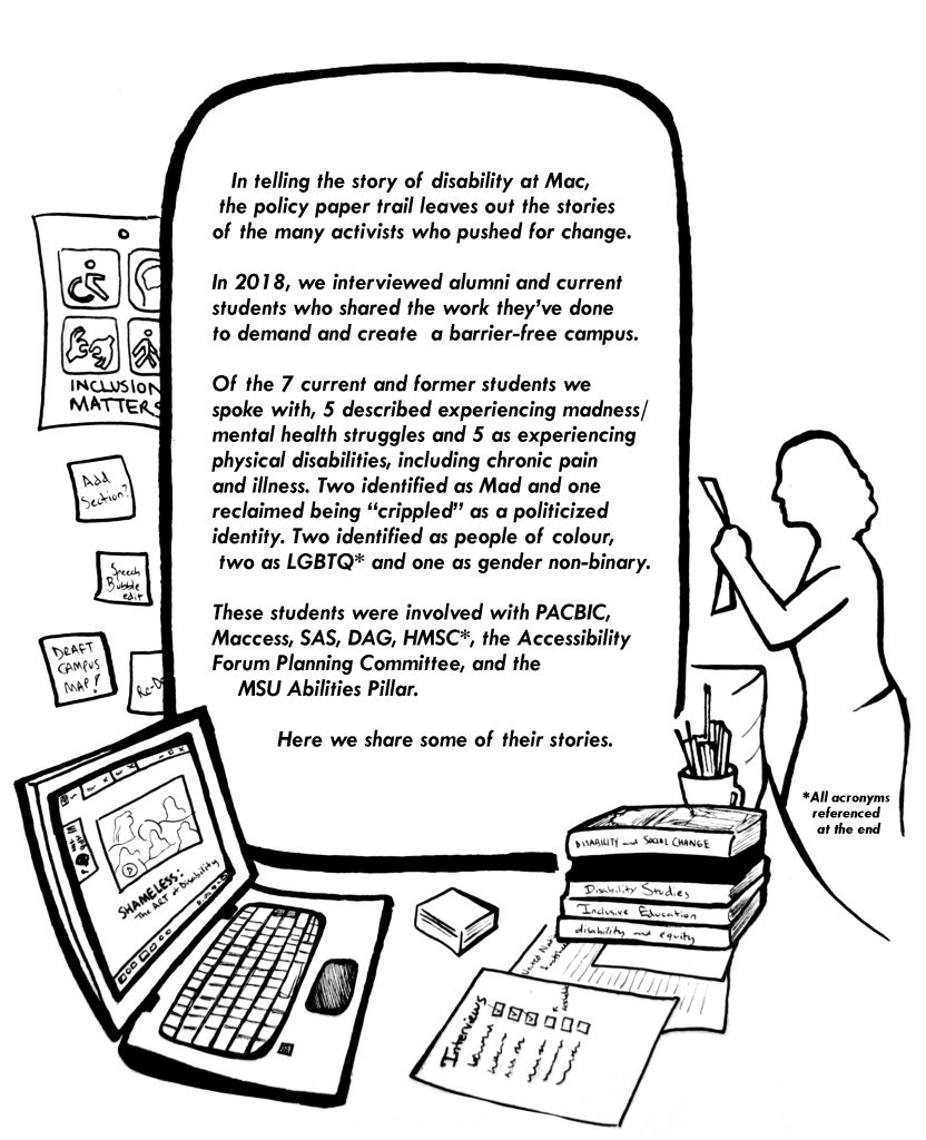 In this image there is a desk with various papers spread out on it, a computer and books. On the wall behind the desk are sticky notes and accessibility images. In the background is a silhouette of a person holding up a piece of paper.