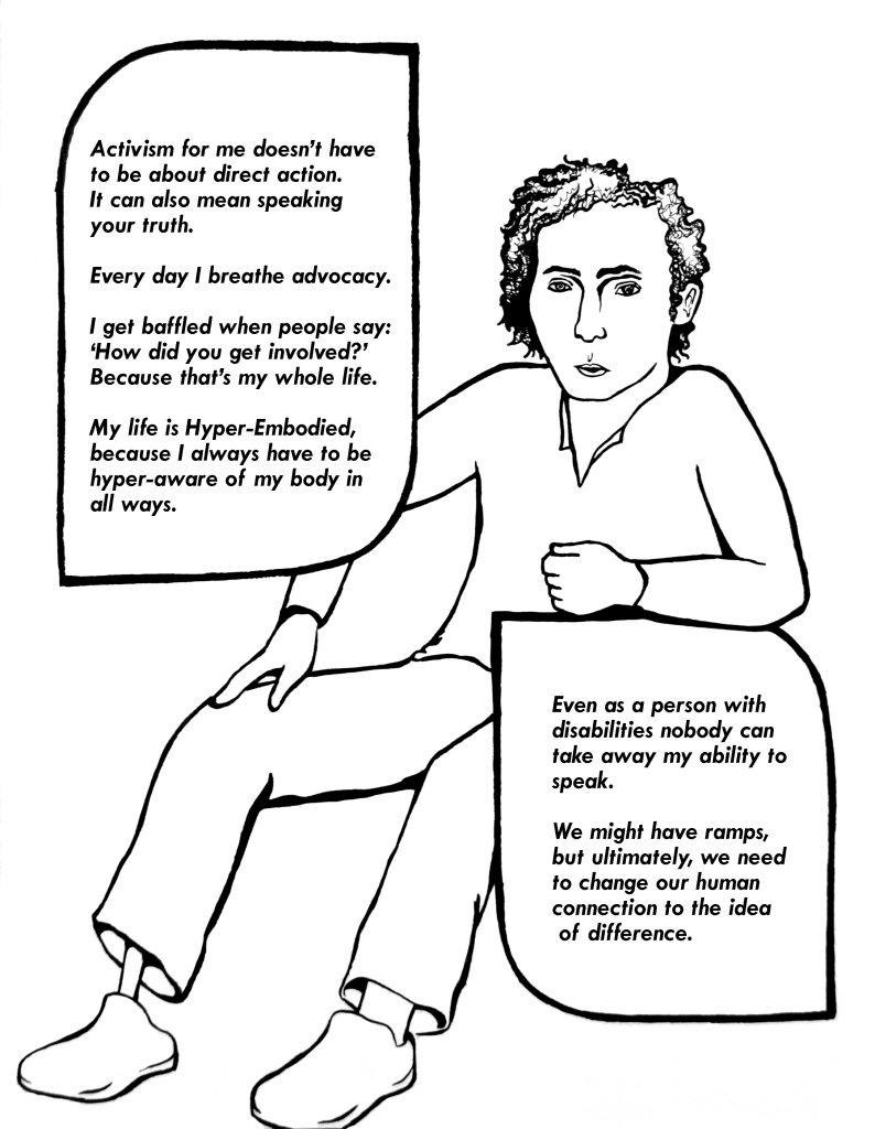 Image of a person sitting with various text surrounding them.