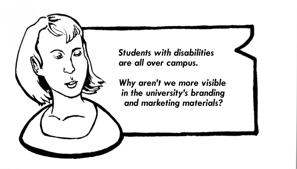 Image of a person looking towards text that talks about the lack of inclusion of persons with disabilities in McMaster's marketing.