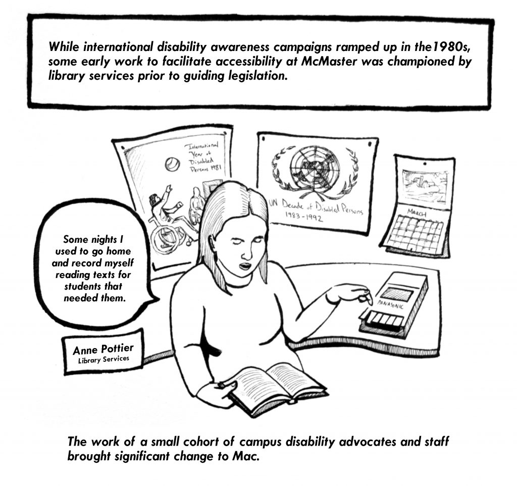 Image has text that describes the work of disability advocates in library services working to make materials accessible. One person sits at a desk reading a book and recording themselves.  On the wall behind where they sit are posters and a calendar.