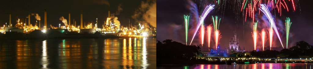 The top left photograph depicts a distanced view of Chemical Valley's refineries as they are reflected on the waters of Lake Huron. There are refinery towers that are emitting smoke and yellow light against a black night sky.  The top right photograph depicts a distanced view of Cinderella's Castle while red and green fireworks are being released into the night sky. The light of the fireworks and that of the castle are reflected on the water at the forefront of the image.