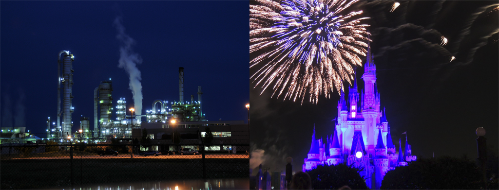 The bottom left photograph displays a closer shot of a chemical processing facility. Against a blue night sky, the facility is releasing white smoke and multicoloured lights.  The bottom right photograph displays a closer shot of Cinderella's Castle at night. The Castle has been lit up in blue. Gold and silver fireworks are going off on either side of the castle.