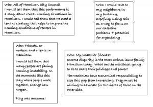 Audience responses transcribed from index cards